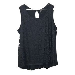 EUC Susan Lawrence black lace tank top size 1x